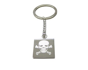 Silver Toned Etched Skull and Crossbones Keychain