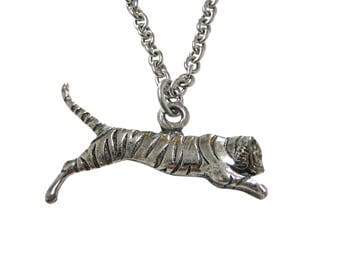 Silver Toned Textured Tiger Pendant Necklace