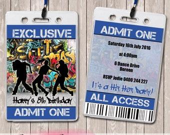 Hip Hop Dance Personalised VIP Lanyard Birthday Invitations x 10