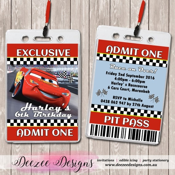 Cars Lightning McQueen Personalised VIP Lanyard Birthday Invitations