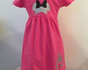 Custom Made Minnie Mouse Inspired Dress - Disney Castle Dress - Disney Personalized Dress - Custom Disney Dress - Minnie Birthday Dress