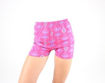 CUTEST 90s Hot Pink Print Super Soft Stretch Cotton Cycling Shorts / Hotpants