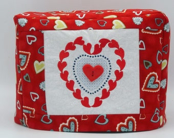 Two Slice Toaster Cover, Valentine Toaster Cover, Valentine Hearts, Red Toaster Cover with Hearts