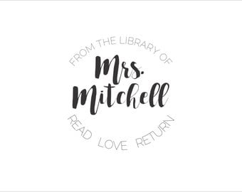 From the Library of Custom Rubber stamp book plate - Read * Love * Return