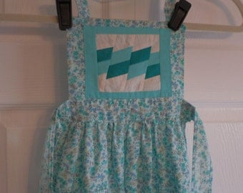 Bib Apron, Child Size, Hand Made, Pieced, Aqua, Solid Cotton on Floral Background,  Pocket, Play Kitchen, Costume, Vintage