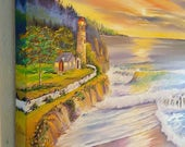 Reserved for M, Rainbow Ocean Oil, Pacific Northwest Oil, Lighthousekeepers House, Lighthouse,36 lx25hx 1.5 deep, painted edges Dan Leasure