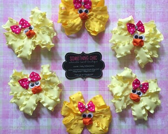 Easter Chick Hairbow, Springtime bow, Easter egg hunt, Easter Basket Stuffer