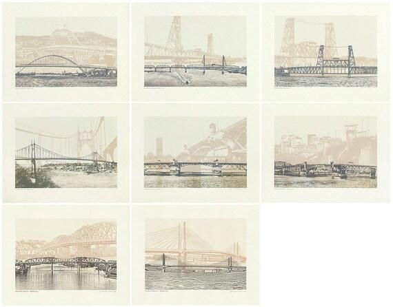 ON SALE! -- Portland Oregon Bridge Series // Tan Bridge Art prints // Art Print // Wall art // Oregon Art // Bridgetown // Beige - 2 sizes