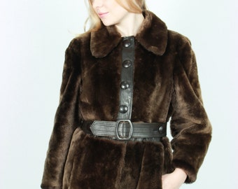 1970 coat, faux fur with leather detail, size medium, Us 8