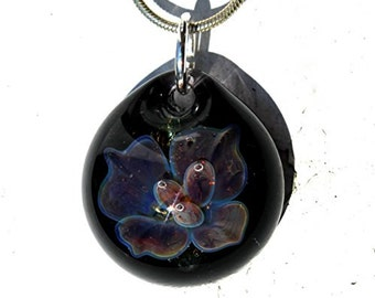 Glass Flower Pendant, Implosion Lampwork Pendant, Hand Blown Boro Jewelry,