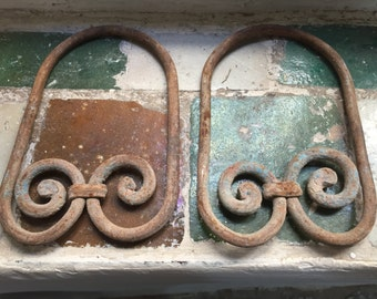 Antique Architectural Salvage Pair of Cast Iron Window Grill Decor Pieces. Set of Two
