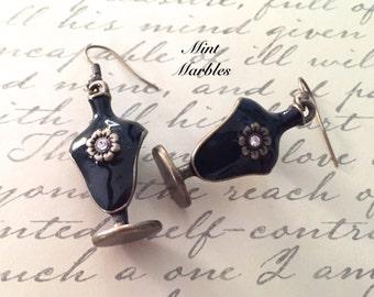 Miniature Jewelry Stand Earrings. Necklace Display. Vintage Style Brass. Black Enamel. Crystal Rhinestones. Unique Earrings. Retro Victorian