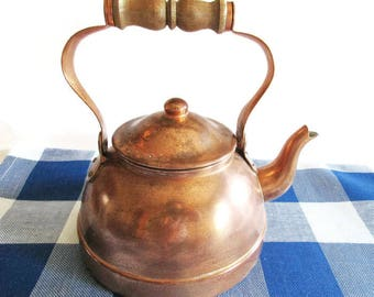 Vintage Primitive Rustic Copper Kettle Watering Can with Wooden Handle, Rustic Vintage Home Decor