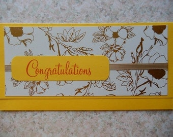 Congratulations Cash/Check Gift Holder - yellow and cream/gold floral