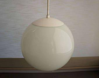 Vintage 1960s Globe Pendant Light by Kichler Globe Glass Ceiling Light White Metal Base