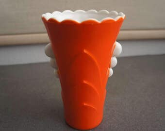 Vintage Art Deco Glass Vase Fire King Vase Fire King Vitrock and Orange Glass Vase