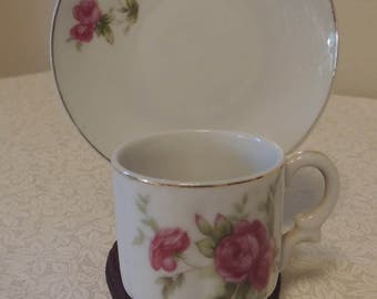 Vintage VICTORA Porcelain Mini Cup & Saucer Set Handpainted Pink Roses Romantic Home Cottage Chic Cup Collection