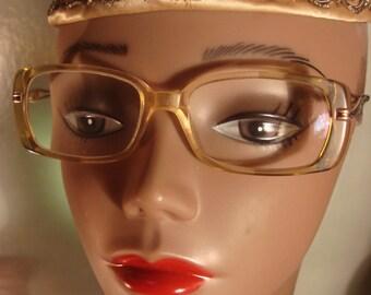 Vintage 1970's Rectangle Plastic Frame Glasses