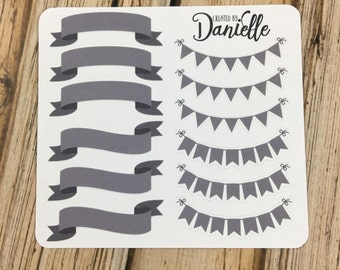 40-50% OFF SALE - Bunting Banner Stickers - Charcoal - Occasion Stickers, Weekend Planner Stickers, Charcoal Stickers, set of 12