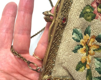 1920s needle point bag with snake clasp