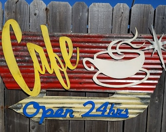 Cafe Mid-Century Retro Painted Flat Metal/ Vintage Corrugated Barn Tin/ Coffee/ Diner/ Kitchen/  Sign
