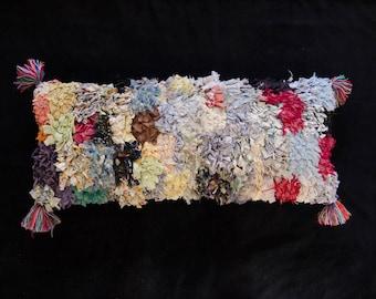 Vintage Moroccan Long Lumbar Pillowcase Boucherouite Rectangle Pillow Decorative Pillow