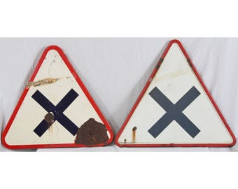 Vintage 1972 French Enamel Road Sign Pair Traffic Triangle Red White Black X