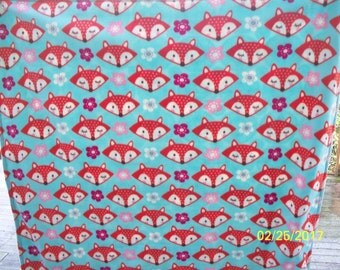 Red Foxes Double Thick Fleece Nap Blanket with Flowers and Leaves