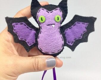 Felt bat, Gothic bat, fruit bat, goth ornament, purple bat, hanging bat, bat gift, vampire bat, goth decor, bat plush, bat ornament, bat