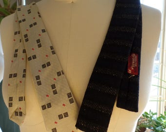 Two thin vintage ties mens NOS Neckware Formal 1950 1970