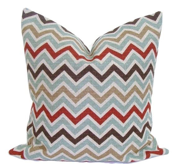 CHEVRON PILLOW.18x18 inch.Decorative Pillow.Teal Chevron Pillow Cover.Home Decor.Housewares.Teal.Brown.Rust.Pillow.46 cm.Zig.Cm.Teal Chevron