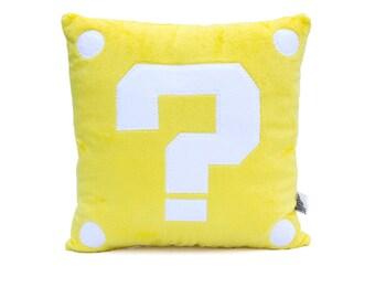 Mario Video Game Inspired Mystery Block Decorative Minky Fleece Pillow