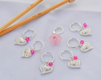 Silver Heart Stitch Markers and Pink Bell Flower Progress Keeper Knitting Notions Gifts for Knitters