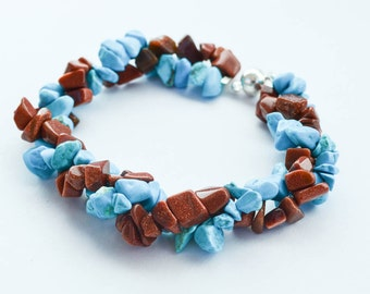 Turquoise and Copper Stone Chip Bead Twist Bracelet Magnetic Clasp Womens Jewelry Gifts for Her