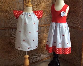 SiSTER SET for SEERSUCKER fun.... girls tank style dress with coordinating flutter sleeve dress- mix and match- sizes 6mo-12