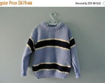 ON SALE Vintage handknit blue striped sweater / Sky Blue Chunky Knit Pullover Sweater / Toddler Boy 24 Months / 2T to 3T