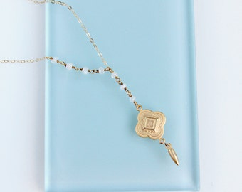 Delicate Moonstone Y Necklace, Gold Medallion, Chain, White Gemstone