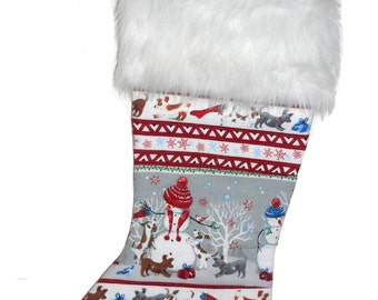 Christmas Stocking, Holiday Stocking, Quilted
