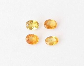 Genuine Yellow Sapphire, Oval Cut, Lot (4) of 1.02 carat
