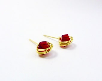 Polygon Studs/Austrian Crystals/14K Gold Fill