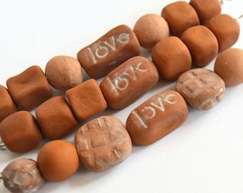 Handmade Ceramic Beads, 21 African beads, earthy terracotta beads, Clay beads, Artisan Beads, terracotta beads, white clay beads