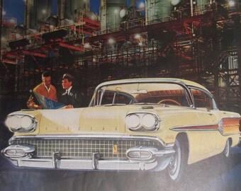 1958 PONTIAC  STAR CHIEF Original Vintage Automobile Advertisement Car Shop Garage Print Additional Ads Ship Free Ready To Frame