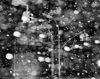 Snowy NYC photo, Brooklyn Snowstorm, Street Photography, New York City photo - fine art photograph