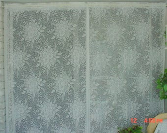 Vintage Lace Curtains White Large Florals Romantic French Prairie Farmhouse Chic