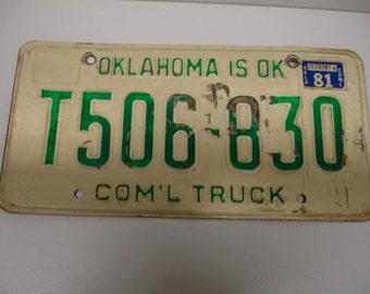 Vintage 1981 Oklahoma Com'l Truck License Plate T 506- 830