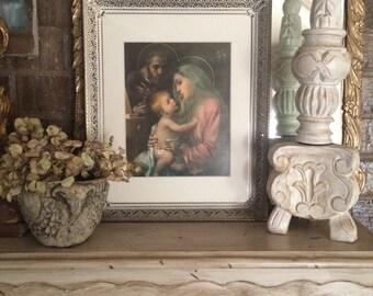 Vintage Large Filigree Framed Holy Family Religious Mary Joseph Baby Jesus Print 16 X 13