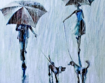 Two people, two dogs and rain .2011 Oil  Painting, Original Oil Painting Print on rolled Canvas