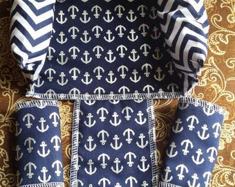 Anchors navy chevron nautical baby head support and strap covers
