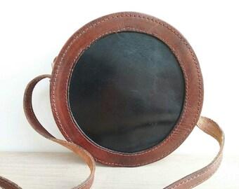 Round leather Bag, Shouder Bag, Brown Leather Bag, Tiny BAg, Black and brown shoulder Bag, Womens Bag, Girls Bag, Gift for her, Cute Bag
