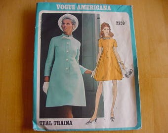 1960s Vogue Americana Pattern 2259, Misses One Piece Dress, Loose Fitting A-Line Dress, Designer Teal Traina, Size 12, Bust 34, VINTAGE